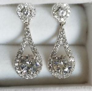 S925 Sterling Silver Diamond Dangle Earrings for Sale in Aspen Hill, MD