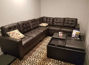Brand New Large Espresso Bonded Leather Sectional Sofa Couch for Sale in Silver Spring, MD