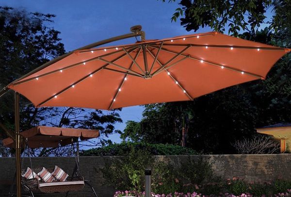 Burgundy Red 10 Patio Umbrella With Led Lights Outdoor Umbrellas Solar Powered Hanging Offset