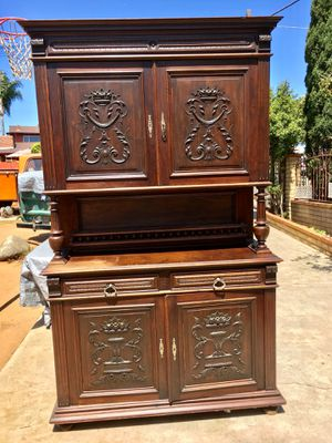 Large Cabinet Hutch Wood Wooden Antique Vintage