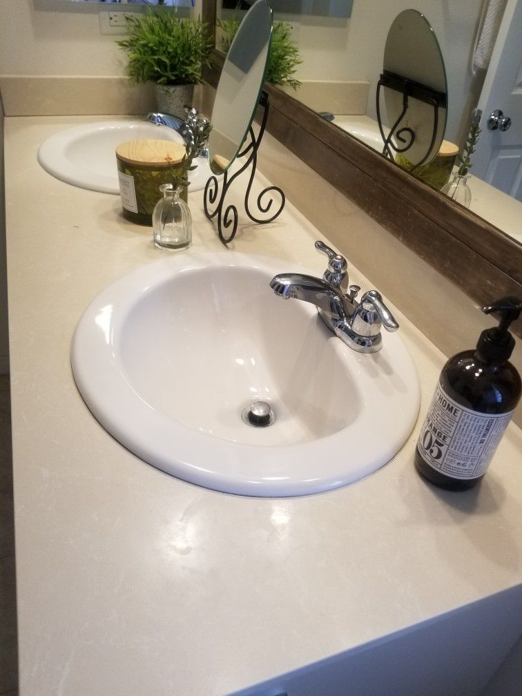 Quartz Top, Backsplash, 2 Sinks, and 2 Faucets