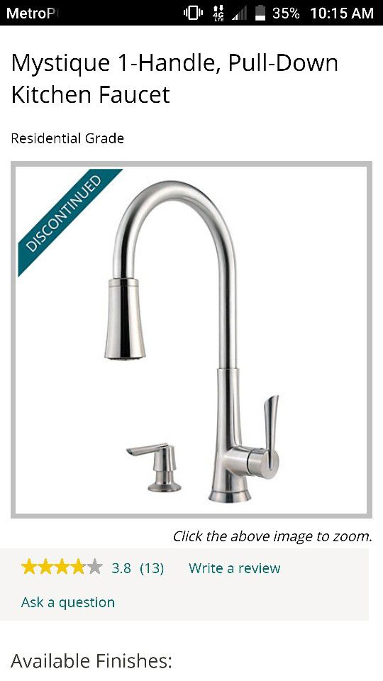 Price Pfister 529 Series Mystique Single Control Kitchen Faucet