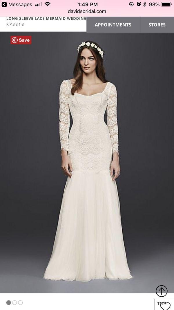 Nwt Galina Long Sleeve Lace Mermaid Wedding Dress For Sale In
