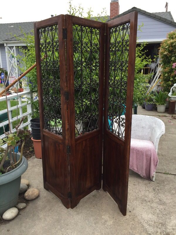 Room divider solid wood w wrought iron screen for Sale in Santa
