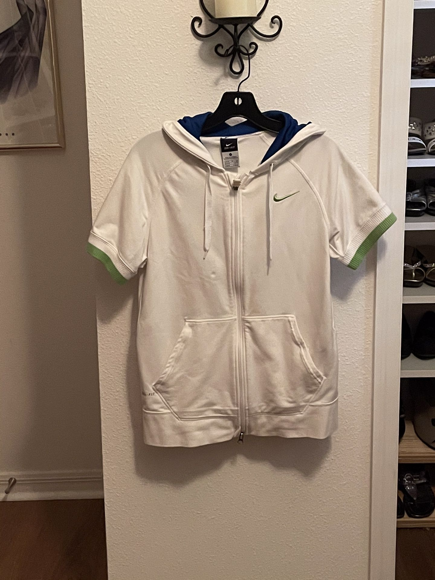 Nike, White With Green And Blue Trim, Medium