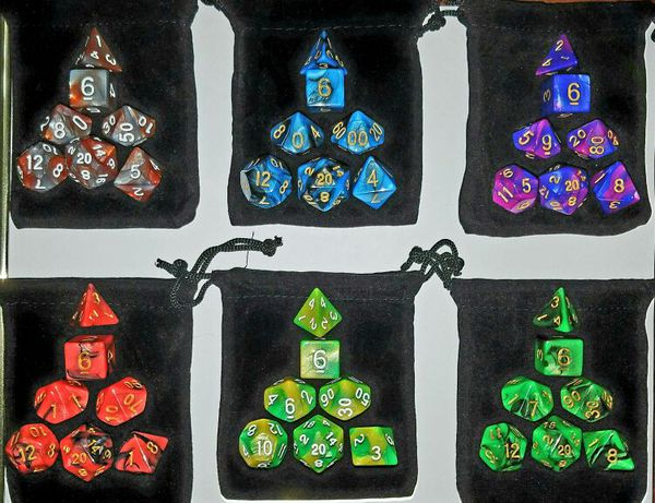 Dungeons and Dragons, DnD, Role Playing 7-Piece Dice set w