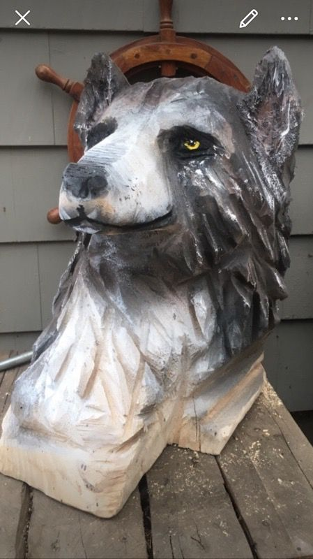 Chainsaw carving wolf head for sale in wareham ma offerup