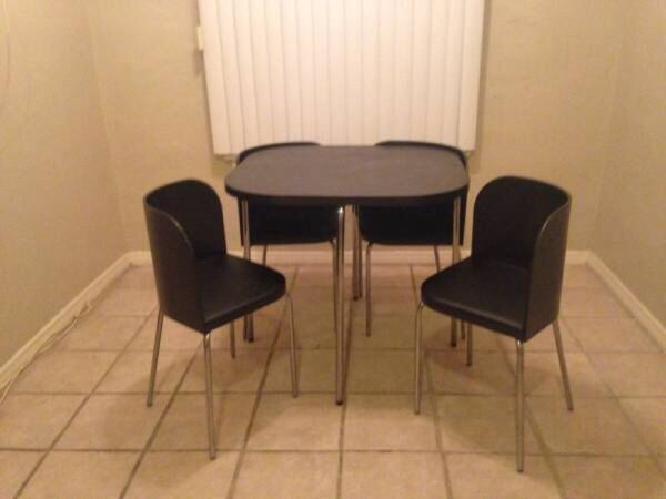 ikea fusion table and 4 chairs brown black chrome 200 obo for