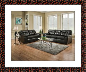 Black bonded leather sofa and love seat free delivery for Sale in Alexandria, VA