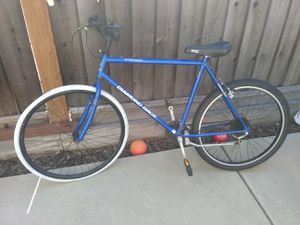 Blue antique Diamandback avocet Sorrento bike,100 percent chrome .front tire rims are24 1/2 in back tire is 26 inches Shimano acera x hyper drive for Sale in Milpitas, CA