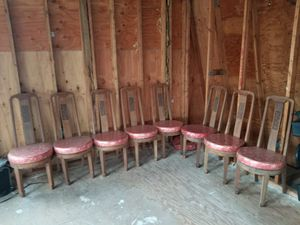 👉100$ for all 9 👍 Antique 80+ yo. Asian Japanese Dragon hand curved wood chairs for Sale in Vancouver, WA
