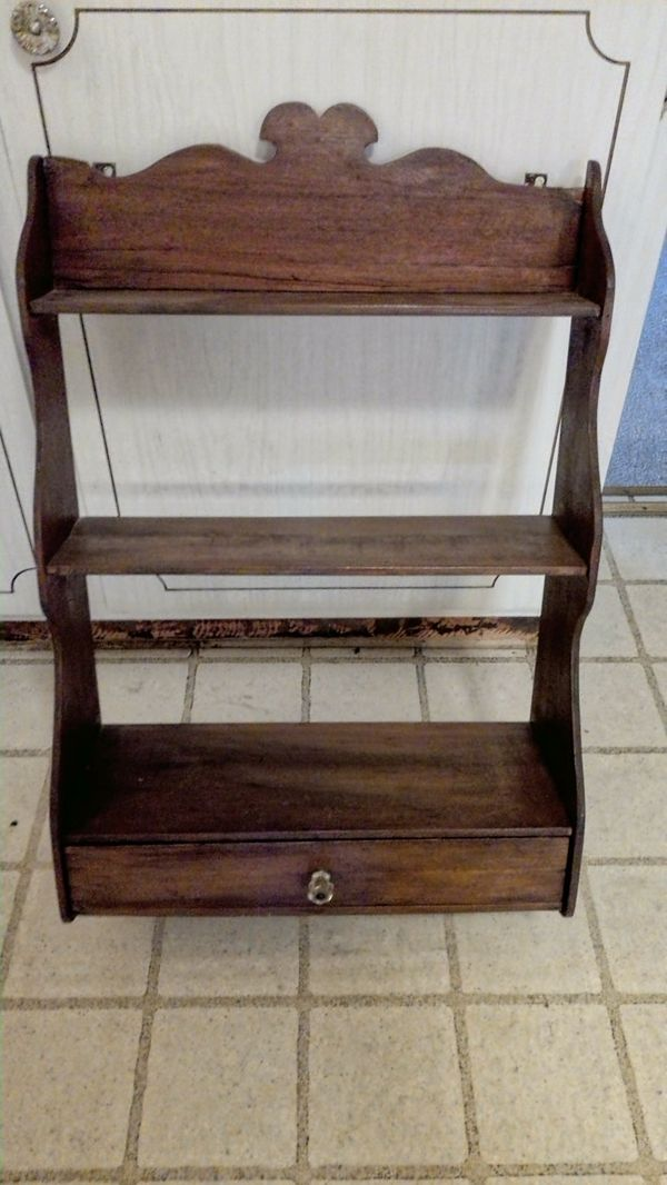 wood nicknack shelving three display shelf wall hanger with drawer