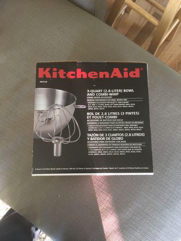 9f32ddb833e6 KitchenAid KN3CW 3-Qt. Stainless Steel Bowl & Combi-Whip - Fits Bowl-Lift  models KV25G and KP26M1X