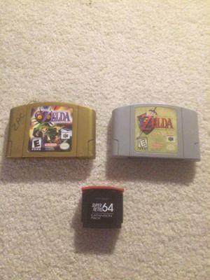 N64: The Legend of Zelda: Ocarina of Time, The Legend of Zelda: Majora's Mask, and Super Retro 64 Expansion Pack for sale  Broken Arrow, OK