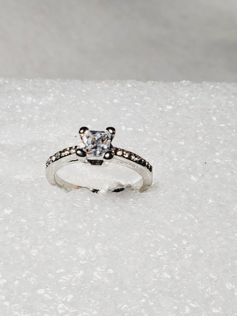 Princess Cut Sterling Silver Ring