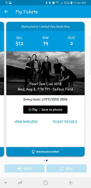 Pearl Jam, the home show 8/8/18 for Sale in Seattle, WA