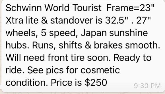 Schwinn World Tourist