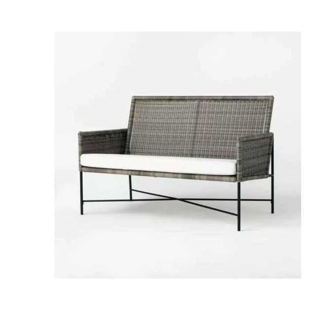 Wicker & Metal X Frame Patio Loveseat - Gray - Threshold™ designed with Studio M