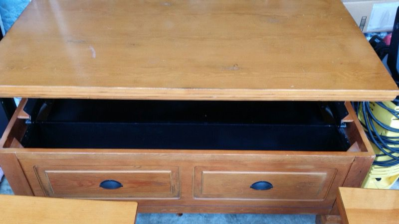 3 Furniture tables 2 side lamp table and one large coffee table with tons of storage