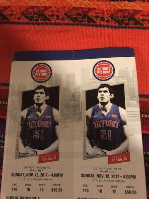Pistons vs Miami Heat tomorrow 11/12 for Sale in Detroit, MI