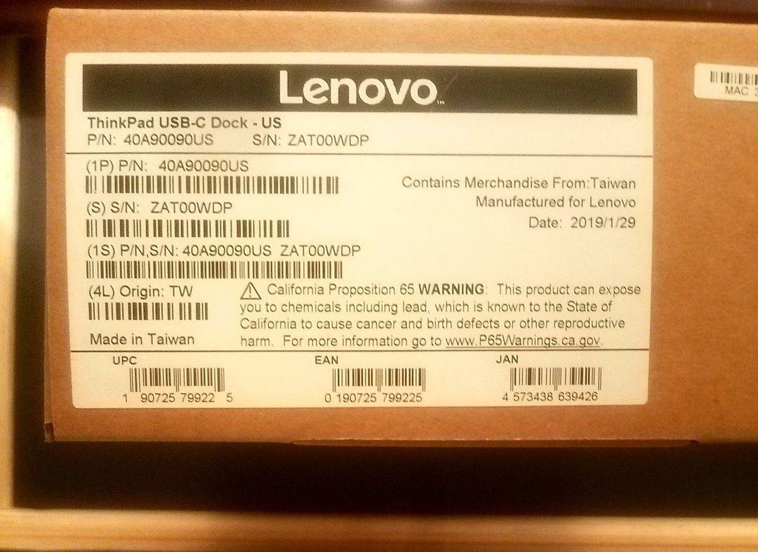 40A90090US Lenovo USB-C Dock Supports Charging For Thinkpad 13 2nd Gen