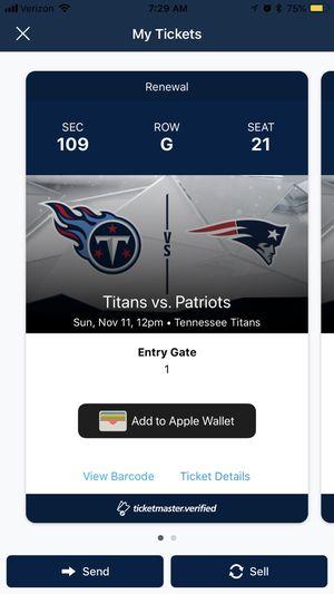 Titans-Patriots tix for Sale in La Vergne, TN
