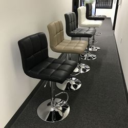 """NEW $45 each Seat Height Adjustable From 24"""" to 33"""" Inch Swivel Barstool Bar Stool Counter PU Leather Chair White Brown Black or Grey Gray Color  Thumbnail"""