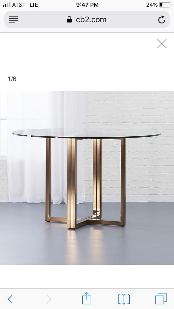 Round Glass Kitchen Or Dining Table Cb2 For Sale In New York Ny