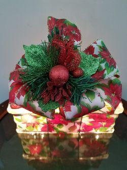 Poinsettia Ribbon Lighted Glass Block Thumbnail