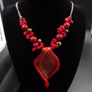Vintage 20 Inch Red Stunning Glass Pendant Necklace Costume Jewelry Fashion Statement Wedding Bohemian Elegant Bridal Theater Trendy Gift for Sale in Everett, WA