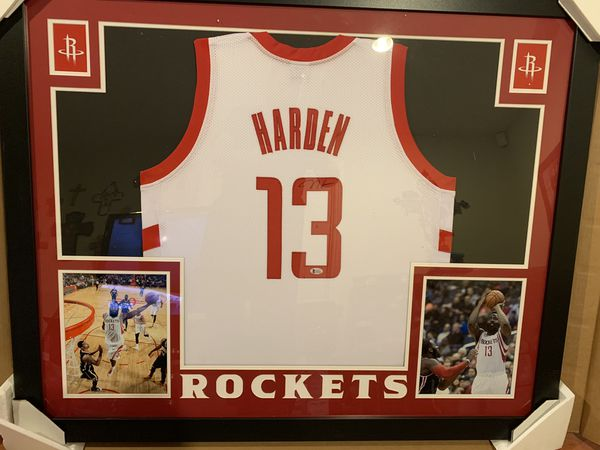 James Harden Rockets autographed Jersey Beckett COA 35x43 frame for Sale in  Upland, CA - OfferUp