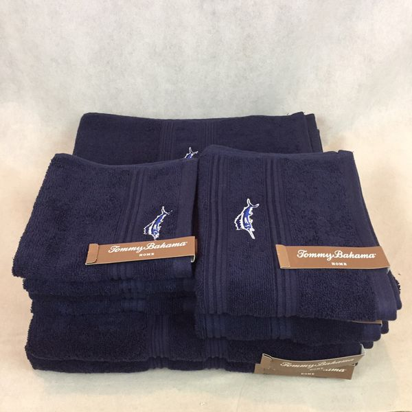 Tommy Bahama 8pc Nwt Navy Blue Embroidered Marlin Towel Set 4 Wash