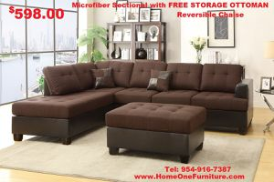 Boston sectional sofa free storage ottoman for Sale in Hollywood, FL