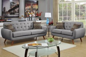 New Mid Century Couch Sofa Set. Grey. Free Delivery! for Sale in Santa Monica, CA