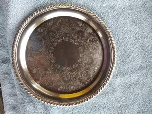 Photo Wm. ROGERS #870 - 10 INCH STERLING SILVER ORNATE - decorative serving plate.