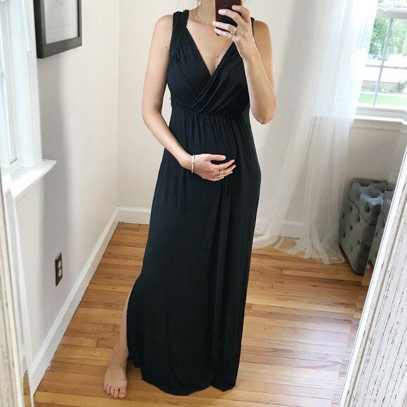 Maternity Maxi Dress Old Navy Size Small Black Nursing