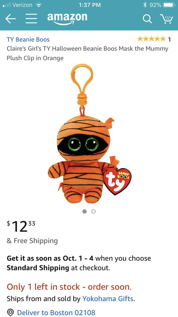 367bbd266c8 Halloween TY beanie boos Mask the Mummy plush clip on for Sale in  Middletown