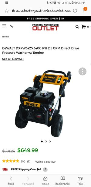 DeWALT DXPW3425 3400 PSI 2.5 GPM Direct Drive Pressure Washer for Sale in Silver Spring, MD