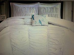 All White Twin Bed Set (wicker frame, headboard, comforter, bed skirt, sham for Sale in Goochland, VA