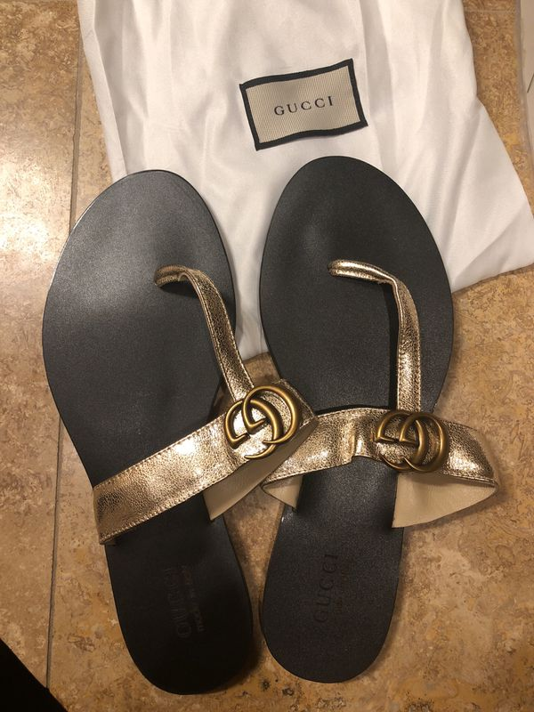 6024c7bf7c9 Gold metallic Gucci sandals flip flops thongs size 42 (10) women s. Gilbert  ...