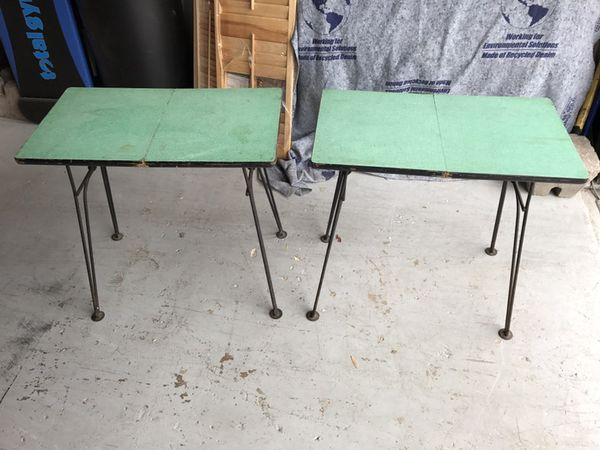 Pair Of Mid Century Modern Hairpin Leg Folding Tv Trays Tables