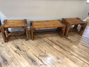 Solid Wood Coffee Table with Two Side Tables for Sale in Lynchburg, VA