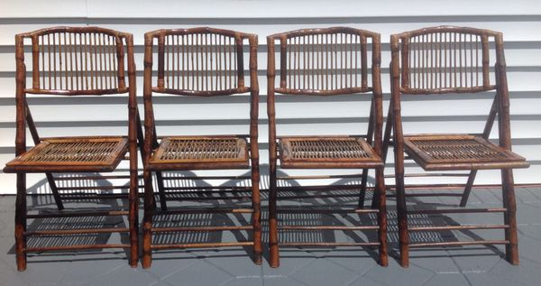 set of 4 tortoise shell bamboo rattan vintage folding chairs for