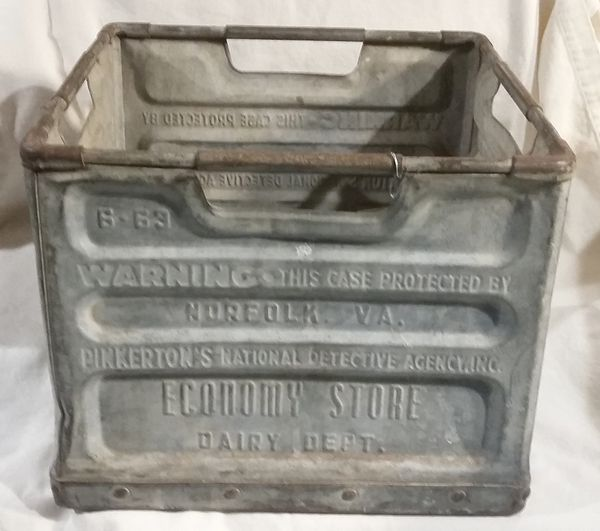Vintage Pinkerton Metal Milk Crate For Sale In Wheaton, IL