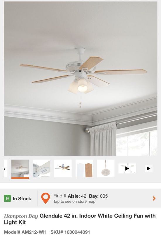 Hampton Bay Glendale 42 In Indoor White Ceiling Fan With Light Kit on