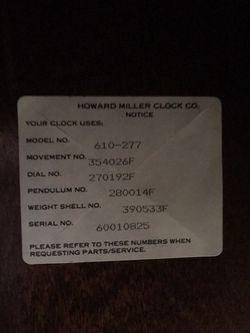 Howard Miller Grandfather Clock - Model 610-277 - $375 (Forest Grove) Thumbnail