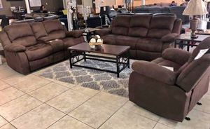 Brand New Brown Fabric Living Room Recliner Set for Sale in Pompano Beach, FL