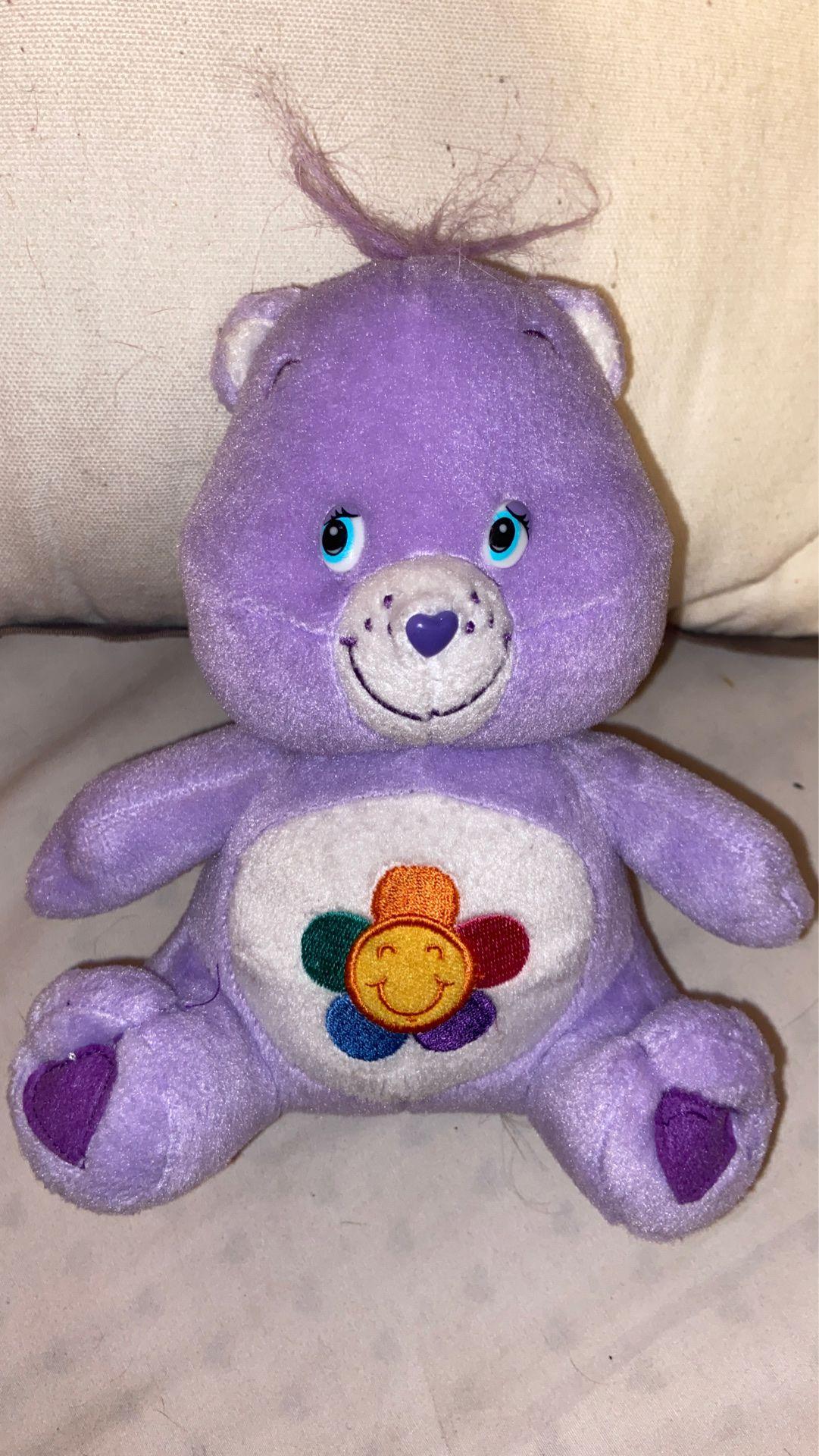 "Care Bears Harmony Bear Plush Stuffed Animal Purple Lavender Flower Tummy 7"""