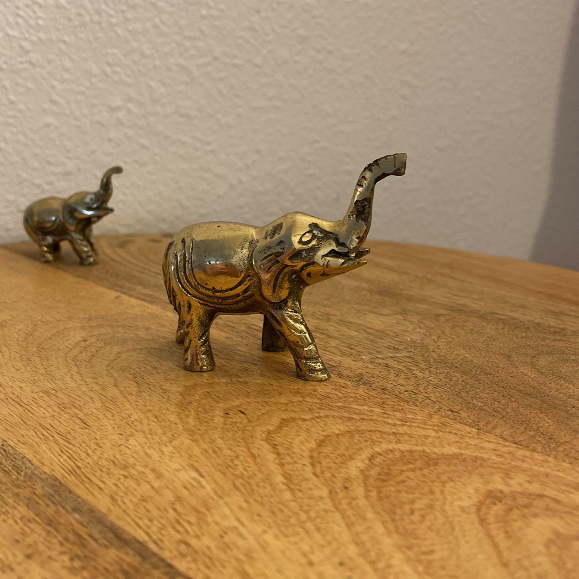 Mama & Baby Small Brass Elephants