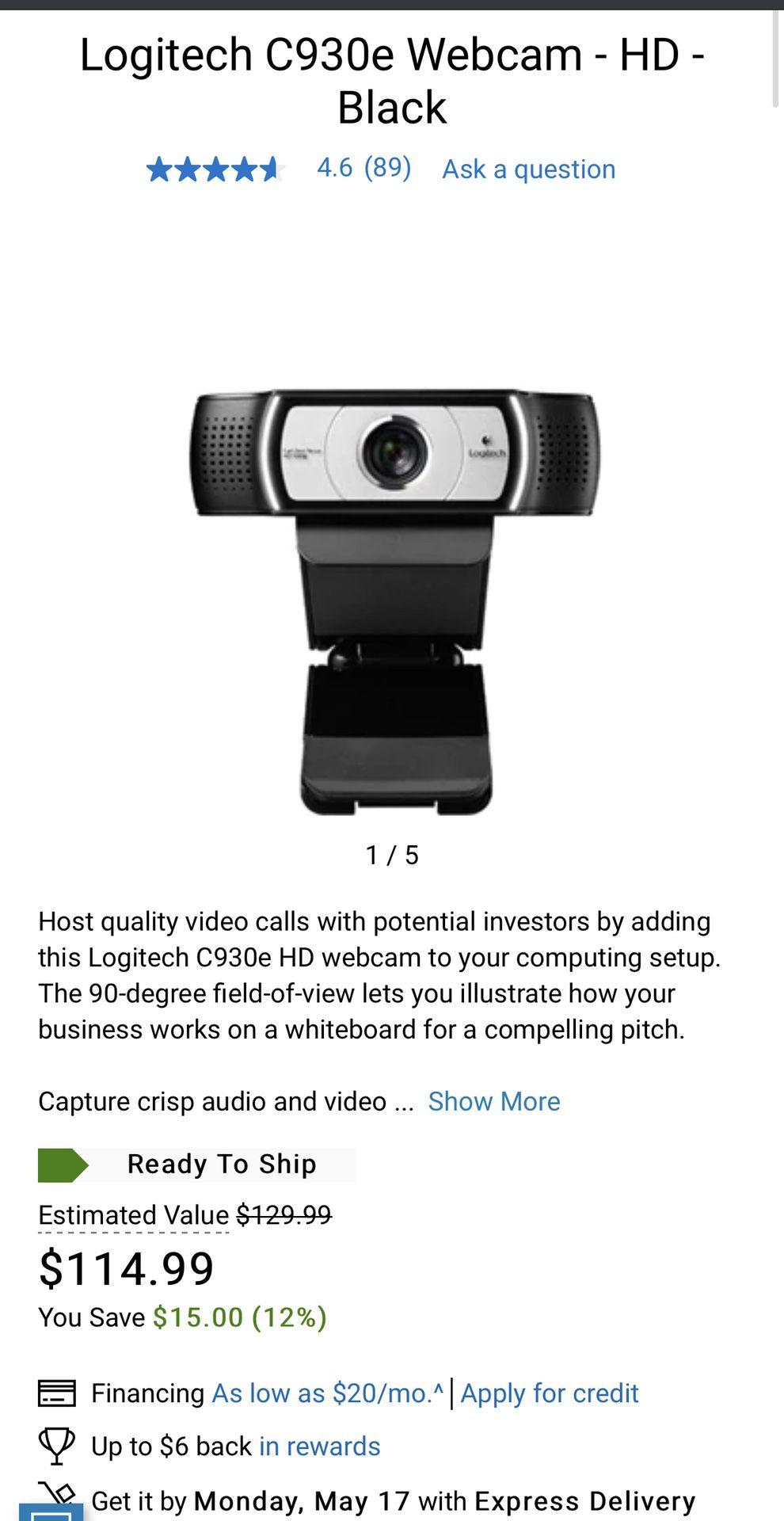 Logitech C930e Webcam - HD - Black